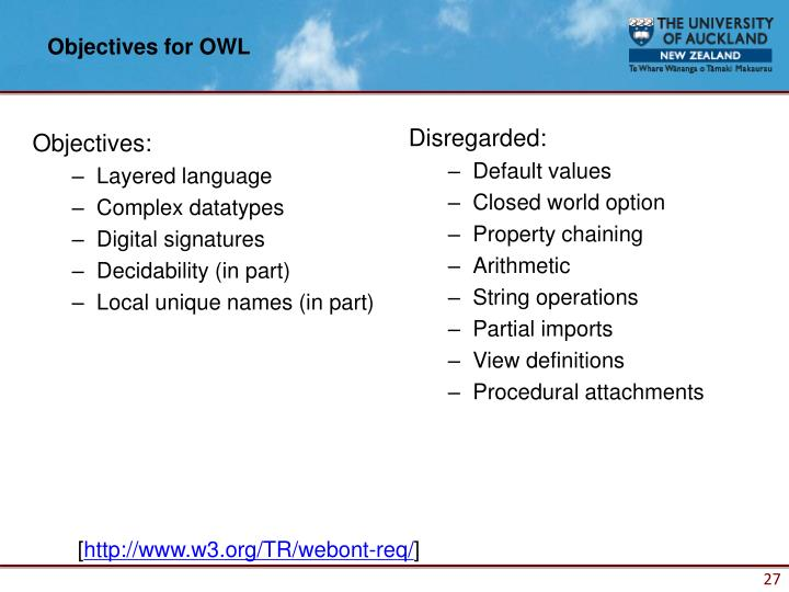 Objectives for OWL