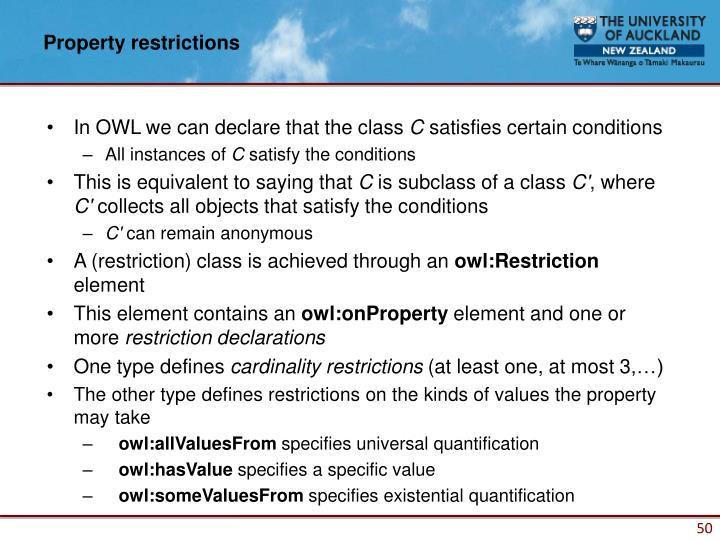 Property restrictions