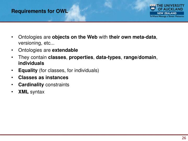 Requirements for OWL