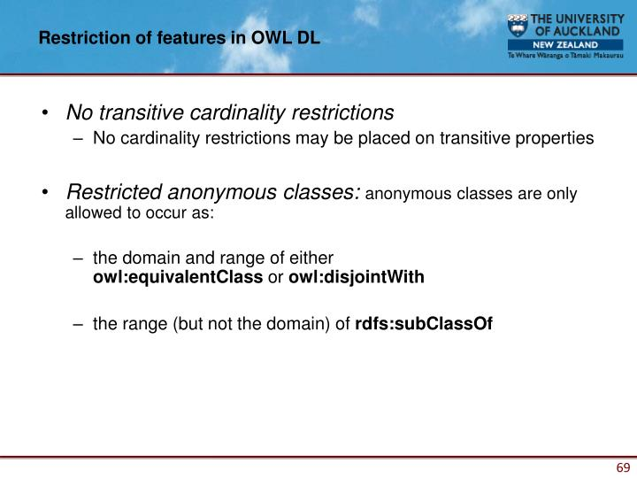 Restriction of features in OWL DL