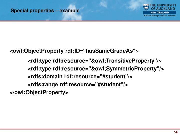 Special properties – example