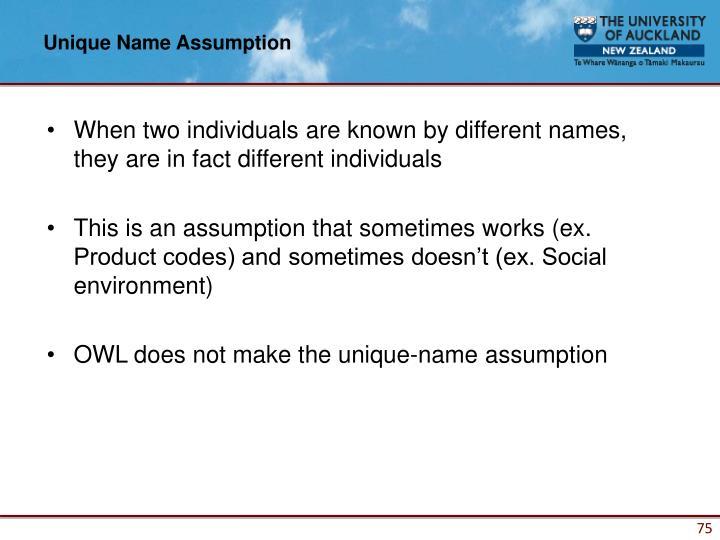 Unique Name Assumption