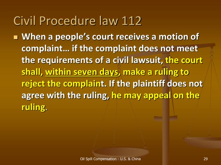 Civil Procedure law 112