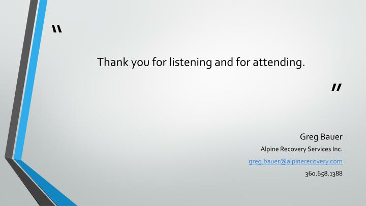 Thank you for listening and for attending.