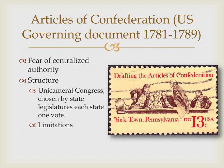 Articles of confederation us governing document 1781 1789