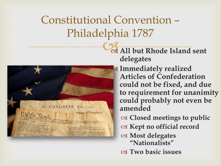 Constitutional Convention – Philadelphia 1787