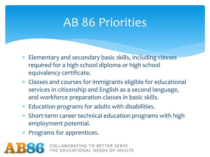 Ab 86 priorities