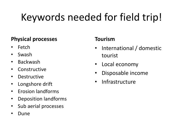 Keywords needed for field trip