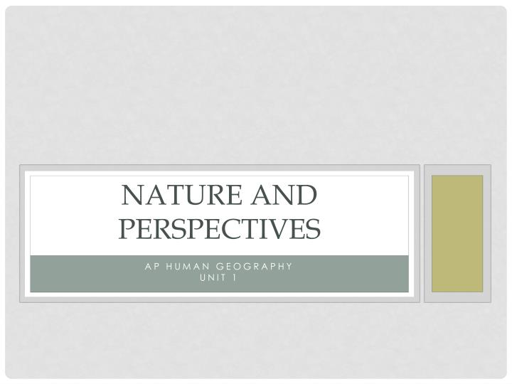 nature and perspectives n.