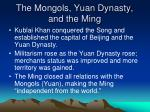 the mongols yuan dynasty and the ming
