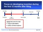 focus on developing invention during the first 12 months after filing
