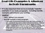real life examples allusions in body paragraphs