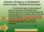 summer 15 days or 2 1 2 months student example introduction paragraph