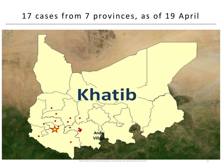 17 cases from 7 provinces, as of 19 April