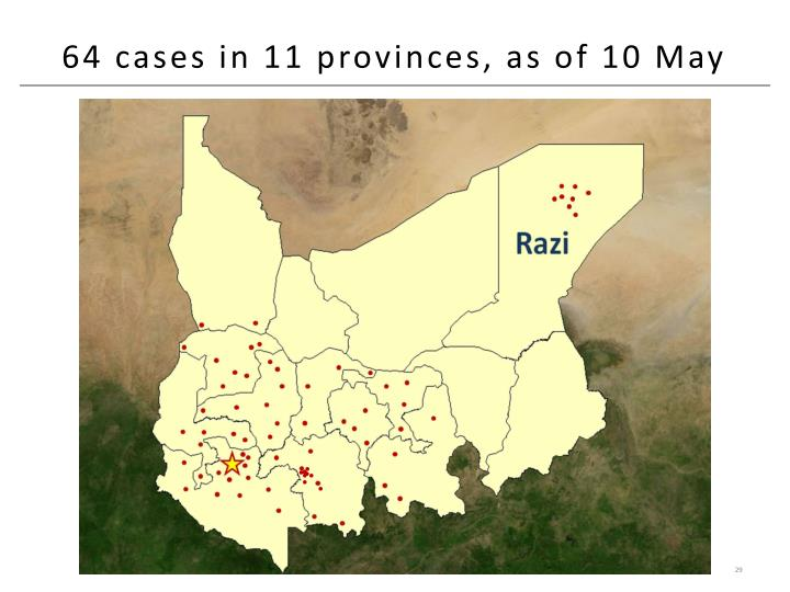 64 cases in 11 provinces, as of 10 May