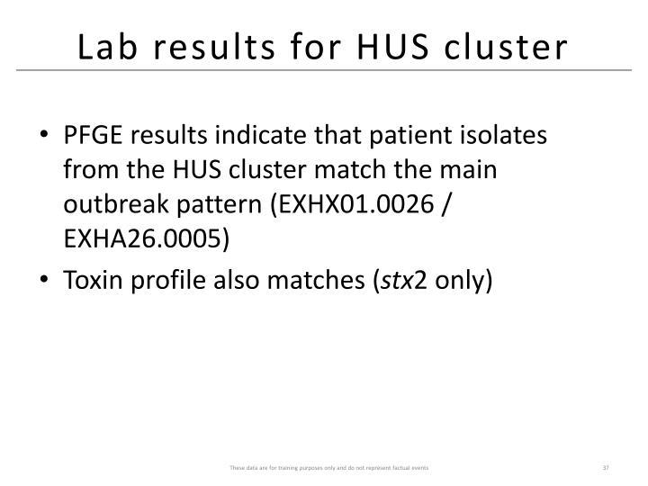 Lab results for HUS cluster