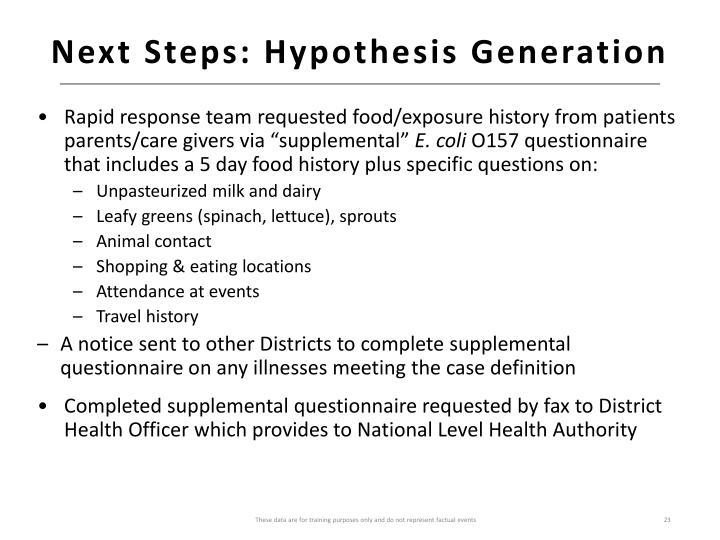 Next Steps: Hypothesis Generation