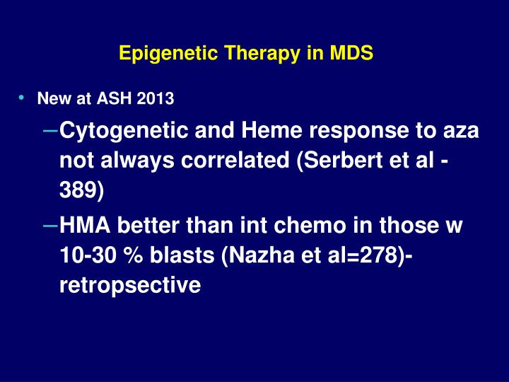 Epigenetic Therapy in MDS