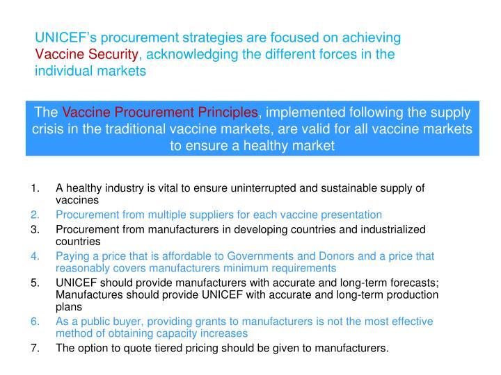 UNICEF's procurement strategies are focused on achieving