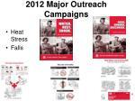 2012 major outreach campaigns