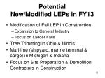 potential new modified leps in fy13