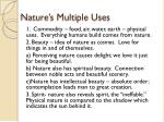 nature s multiple uses