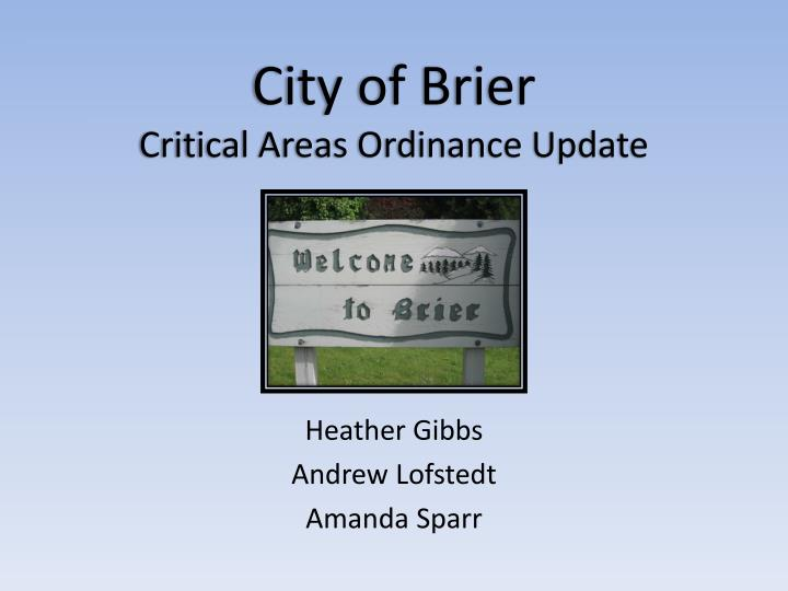 city of brier critical areas ordinance update n.