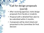 call for design proposals con d