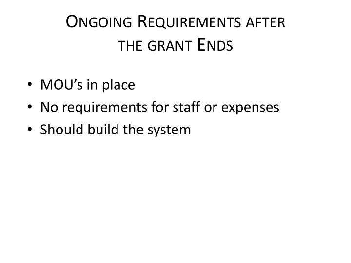 Ongoing Requirements after