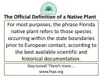 the official definition of a native plant