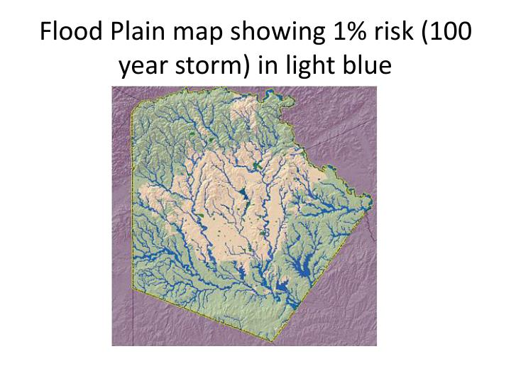 Flood Plain map showing 1% risk (100 year storm) in light blue