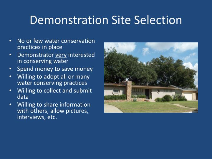 Demonstration site selection