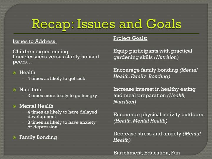 Recap: Issues and Goals