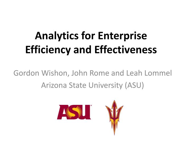 analytics for enterprise efficiency and effectiveness n.