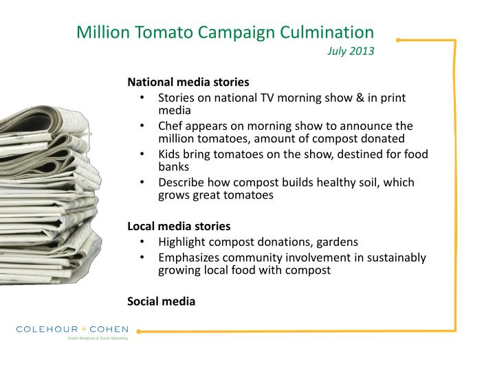 Million Tomato Campaign Culmination