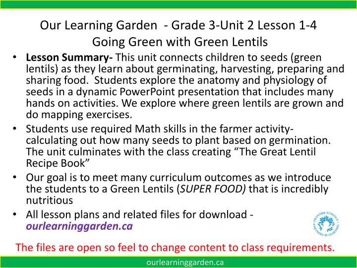 our learning garden grade 3 unit 2 lesson 1 4 going green with green lentils n.