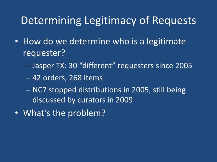 Determining Legitimacy of Requests