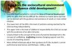 how does the sociocultural environment influence child development1