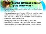 what are the different kinds of play behaviours