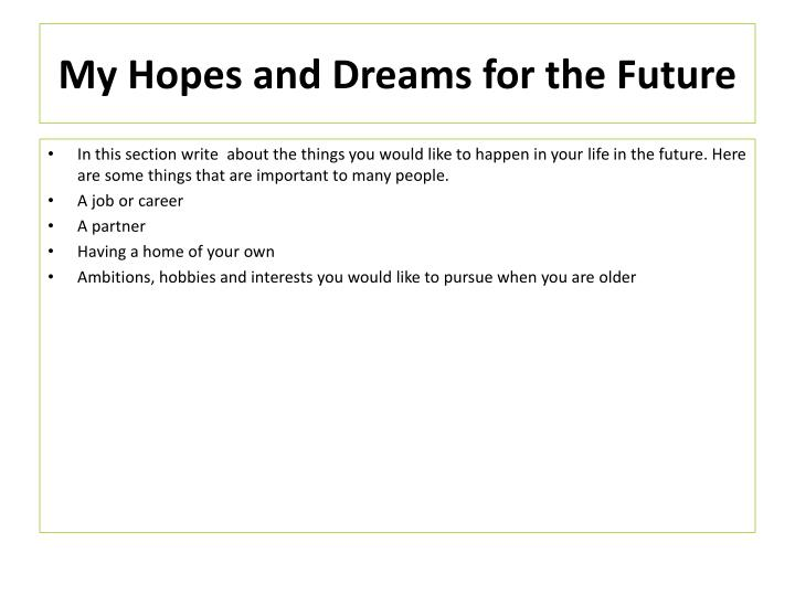 My Hopes and Dreams for the Future
