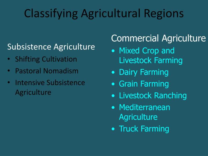 classifying agricultural regions n.