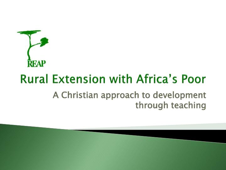 rural extension with africa s poor n.