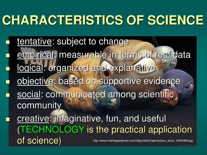Characteristics of science