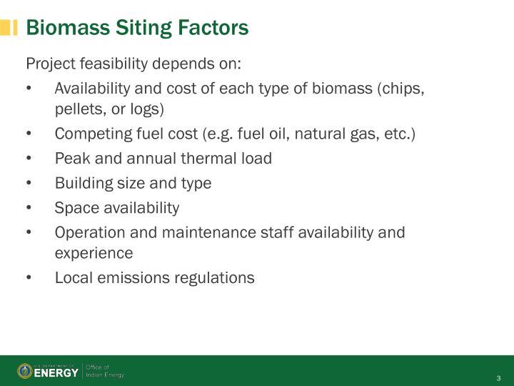 Biomass siting factors