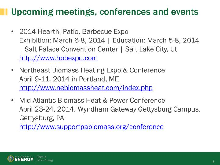 Upcoming meetings, conferences and events