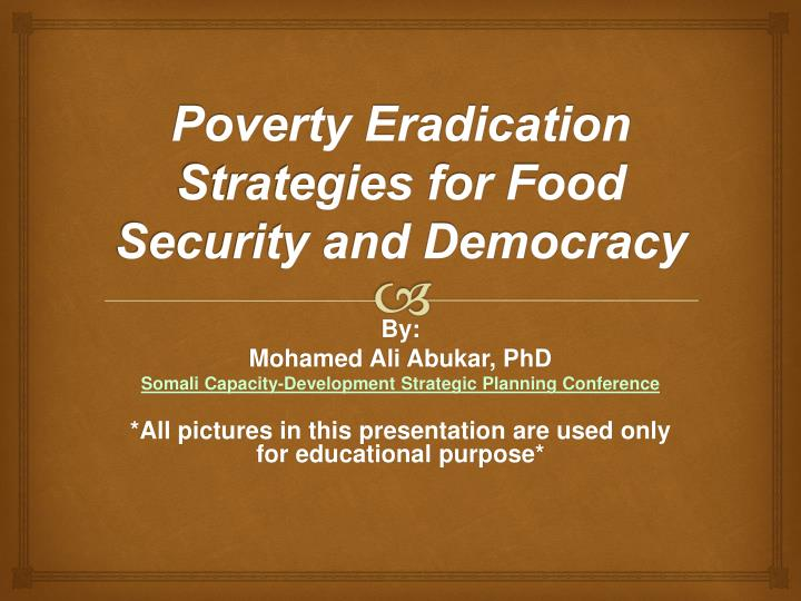 poverty eradication strategies for food security and democracy n.