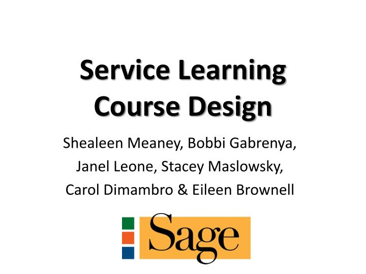 service learning course design n.