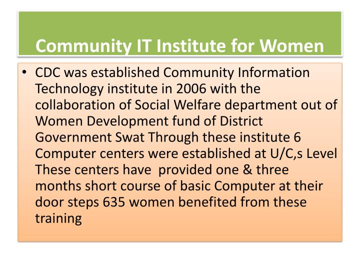 Community IT Institute for Women