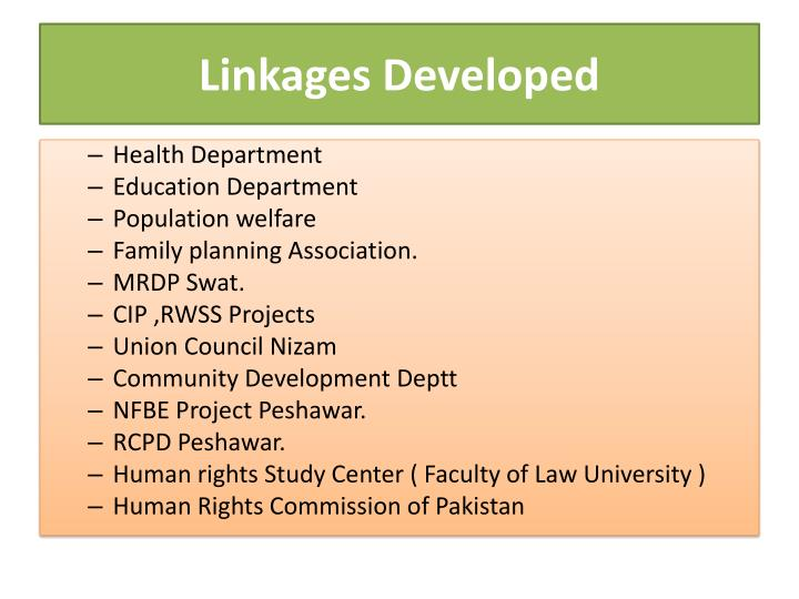 Linkages Developed