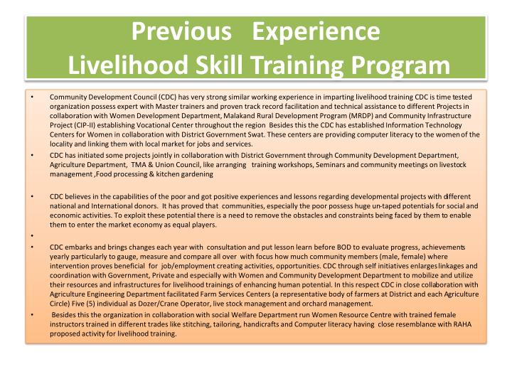 Previous experience livelihood skill training program